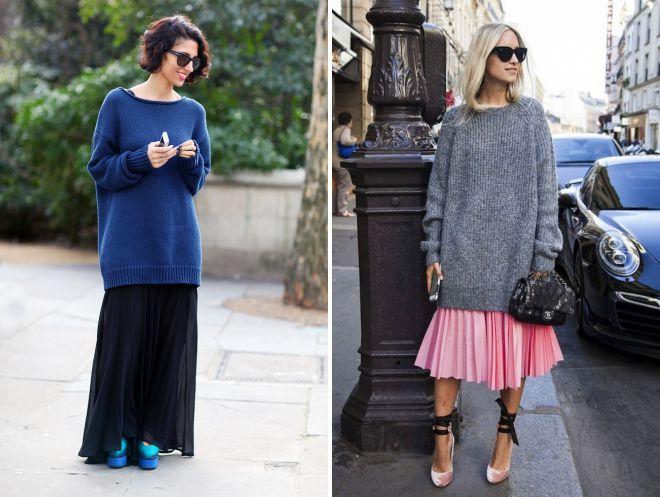 длинный свитер с юбкой