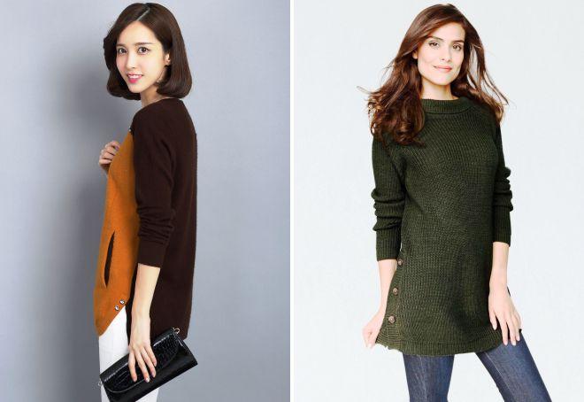 модный длинный свитер