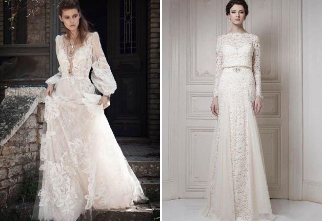 красивое свадебное платье с рукавами