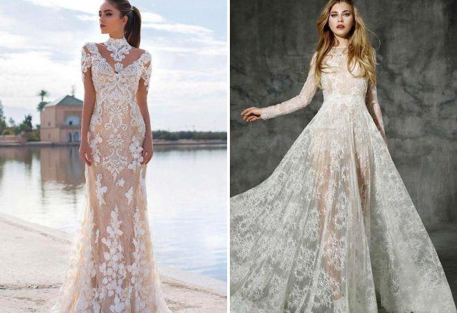 красивые кружевные свадебные платья