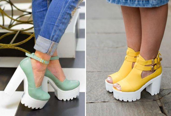 красивые туфли на тракторной подошве
