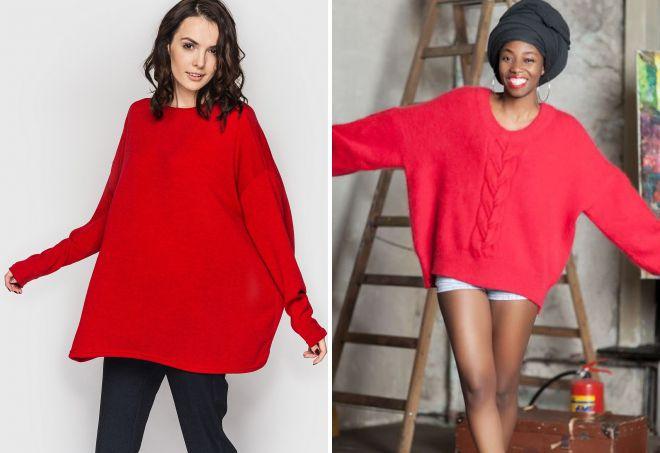 красный свитер оверсайз