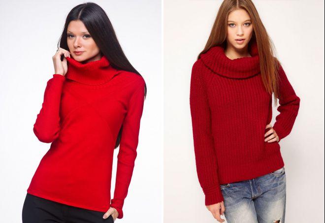красный свитер с горлом