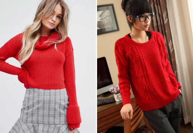 красный свитер с воротником