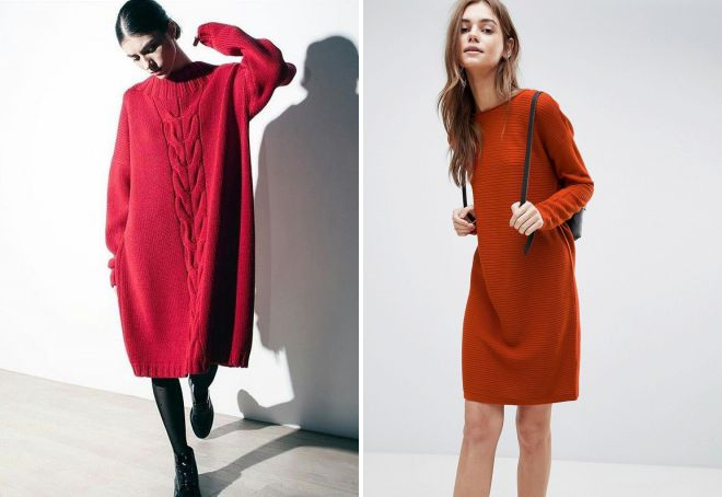красное платье свитер