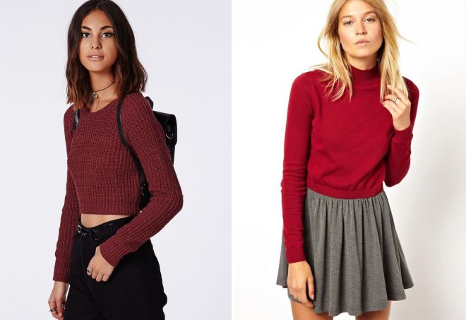 короткий красный свитер