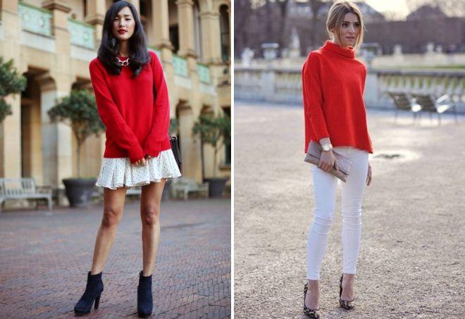 с чем носить женский красный свитер