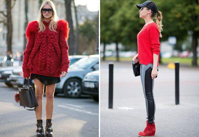 с чем сочетать красный свитер