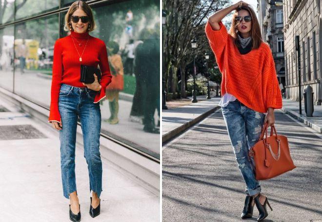 красный свитер и джинсы
