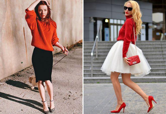 красный свитер с юбкой