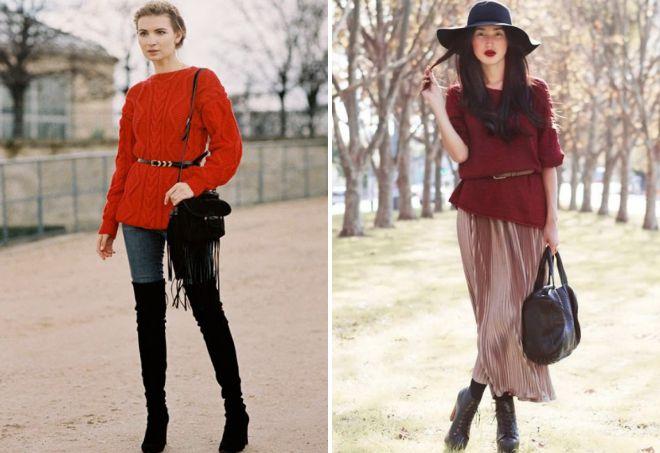 красный свитер с поясом