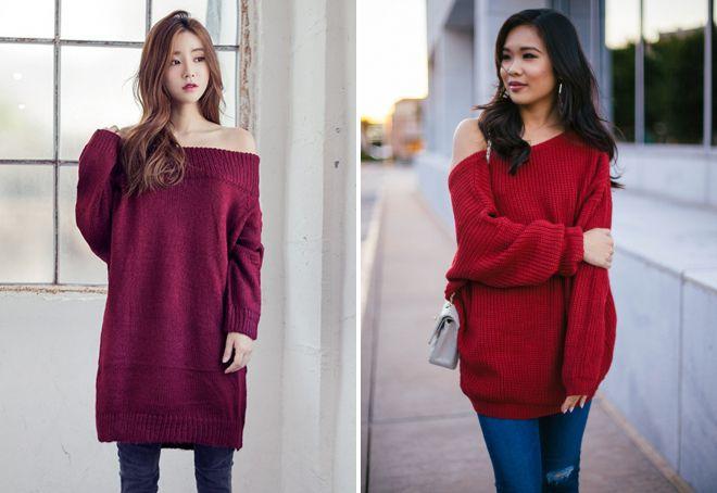 стильный красный свитер