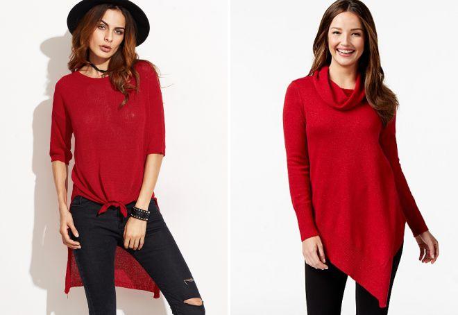 образ с красным свитером