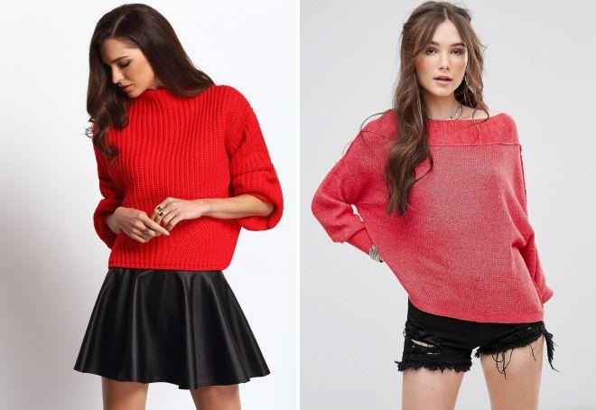 красный свитер Zara