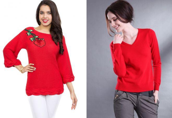 ярко красный свитер