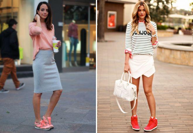 модные образы с кроссовками 2018