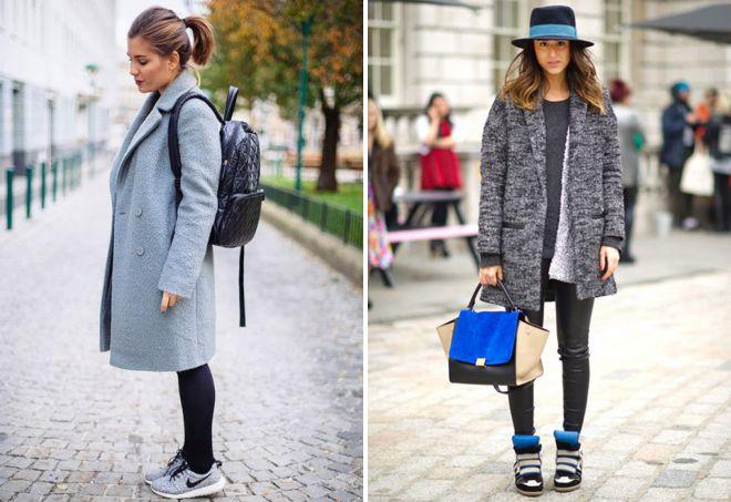 пальто с кроссовками 2018