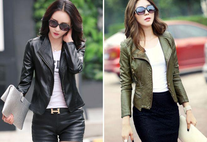 женская короткая кожаная куртка