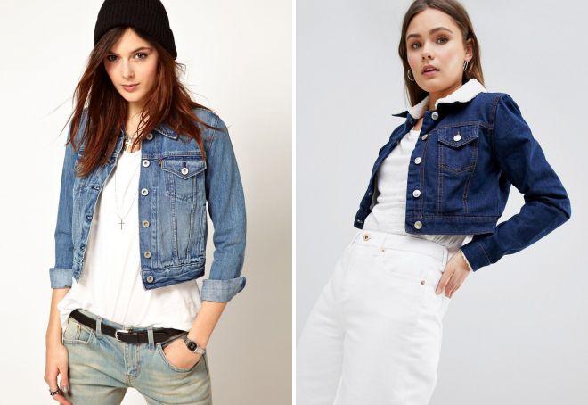 женская короткая джинсовая куртка
