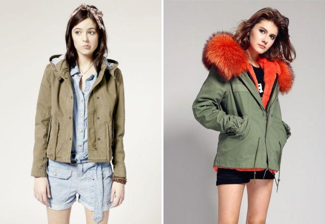 короткая женская куртка парка