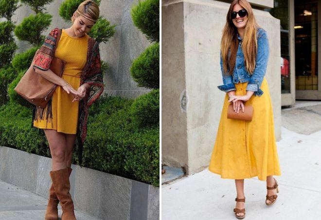 с чем сочетать платье горчичного цвета