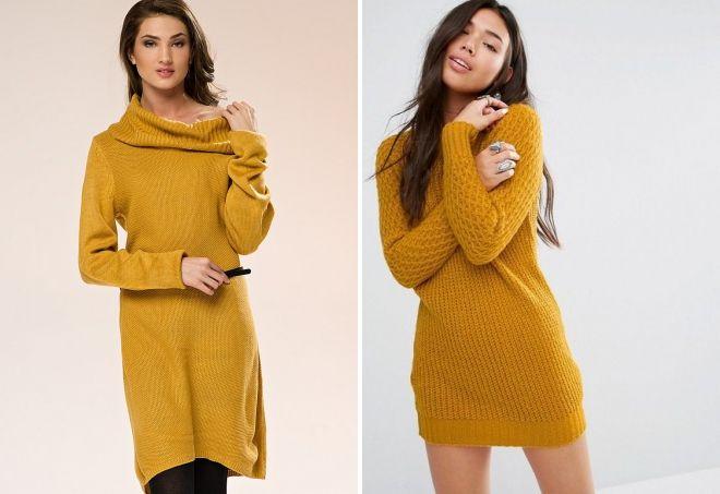 вязаное платье горчичного цвета