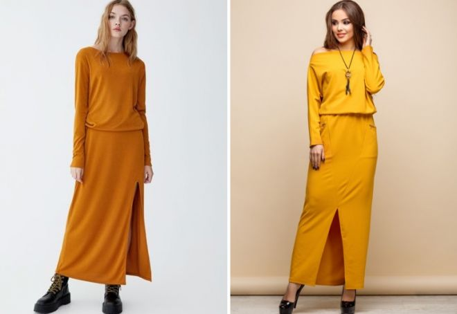 желто горчичное платье