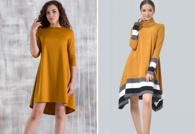 модное горчичное платье