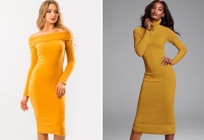 платье лапша горчичного цвета
