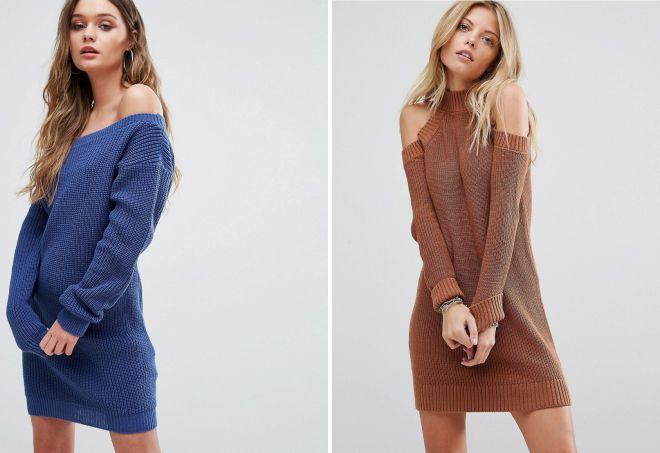 платье свитер с открытыми плечами