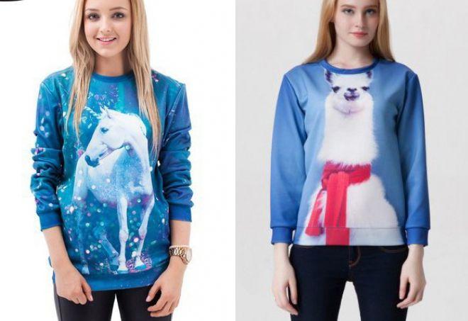 голубой свитер с принтом