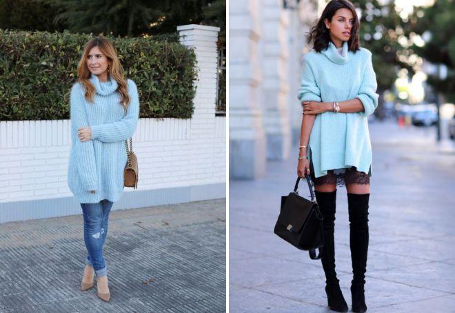 голубой свитер платье
