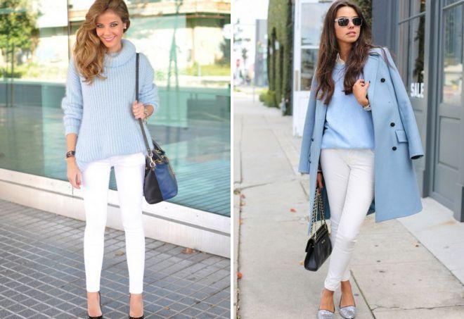 голубой свитер с брюками