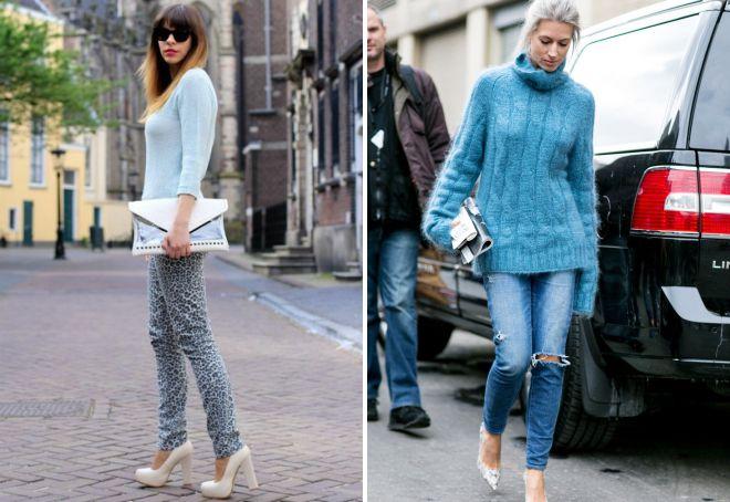 голубой женский свитер