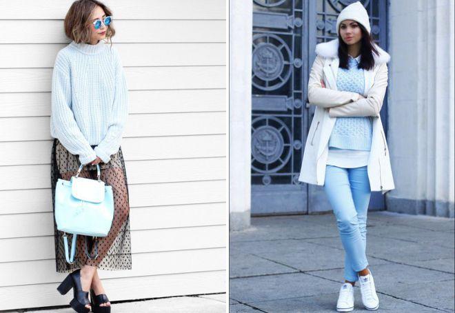 вязаный голубой свитер для женщин
