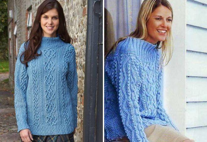 голубой свитер с аранами