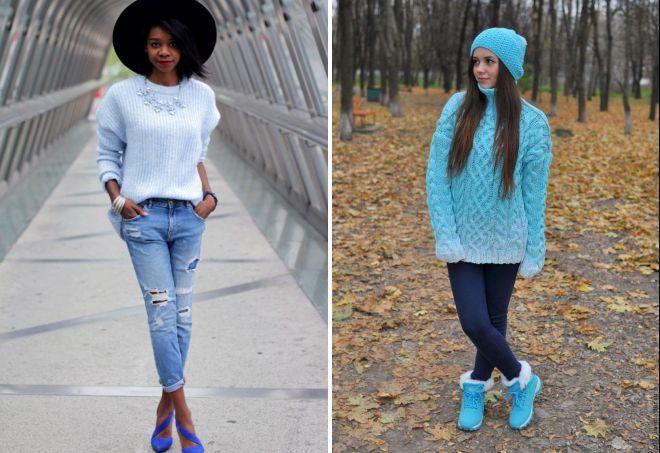 голубой свитер крупной вязки