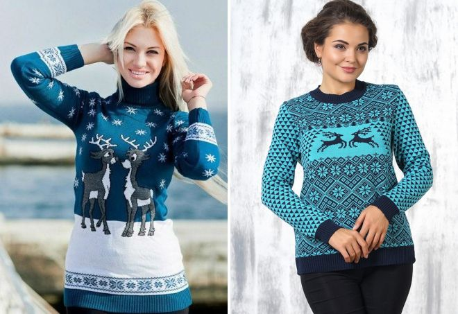 голубой свитер с оленем
