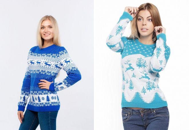 голубой женский свитер с оленями