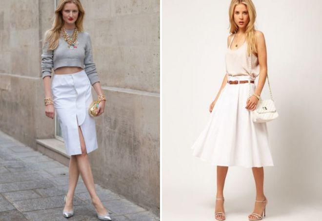 с чем сочетать белую юбку