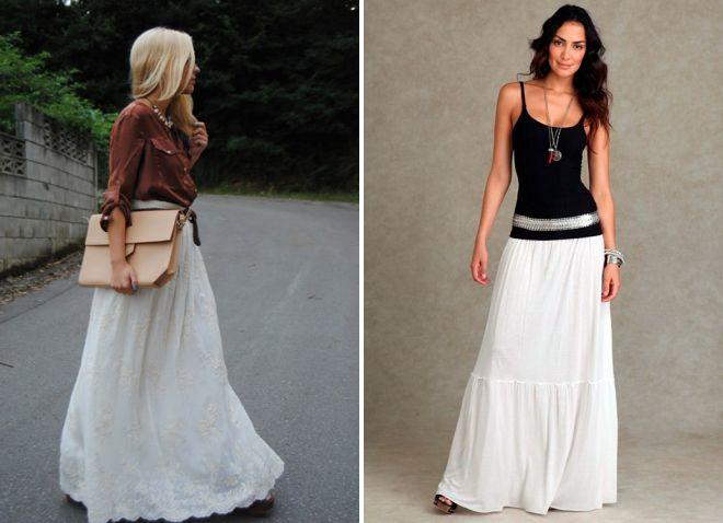 белая длинная юбка