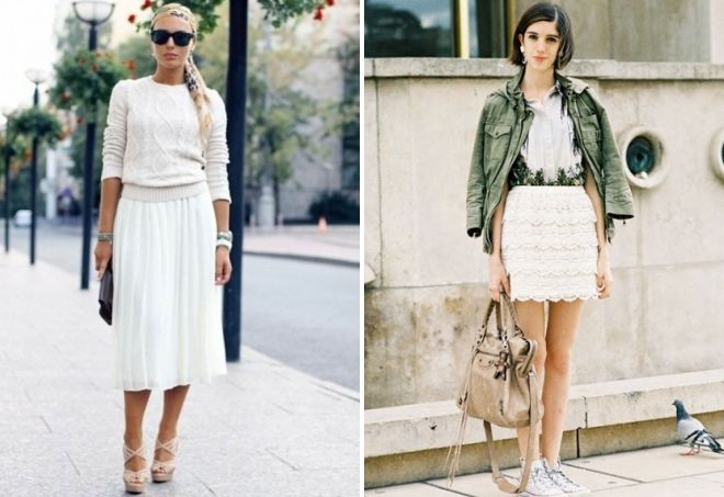 женские белые юбки