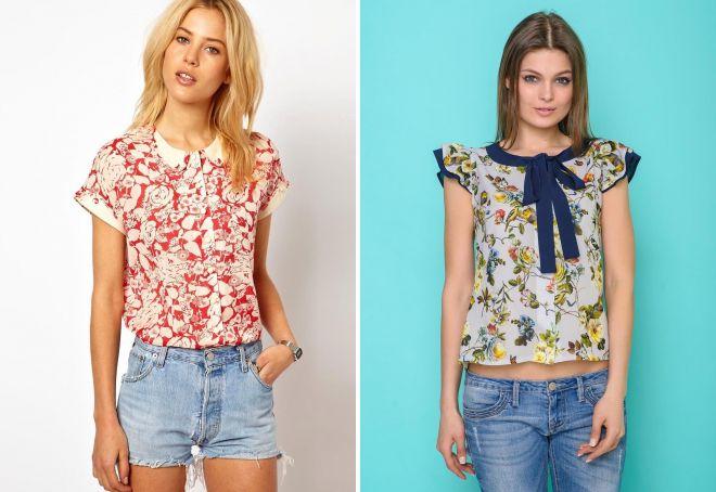 модные блузки с коротким рукавом 2017