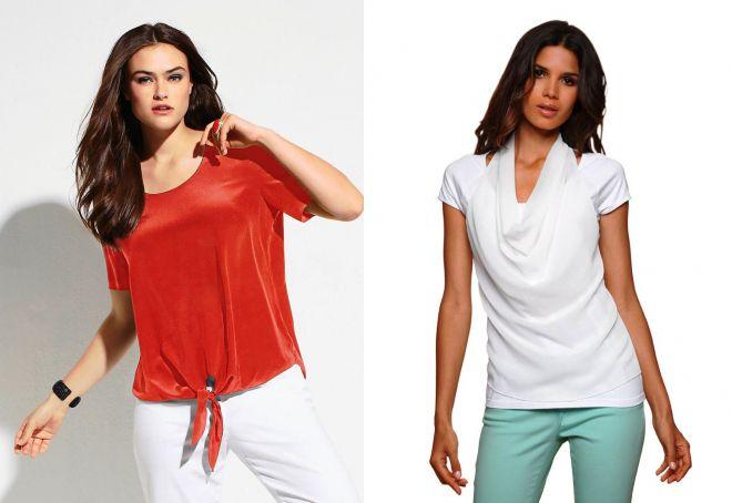 блузка с коротким рукавом из трикотажа