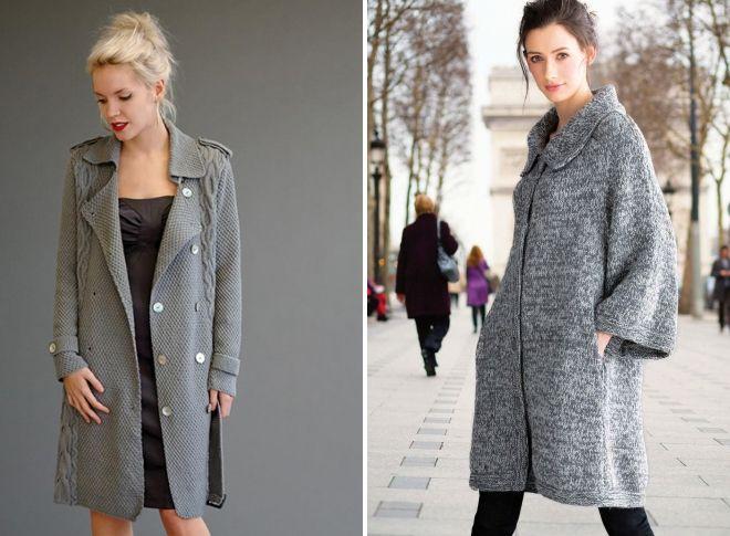 модели вязаных пальто