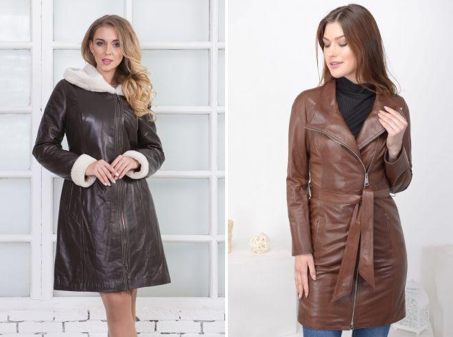 модели кожаных пальто
