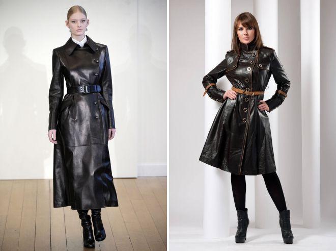 фасоны кожаных пальто