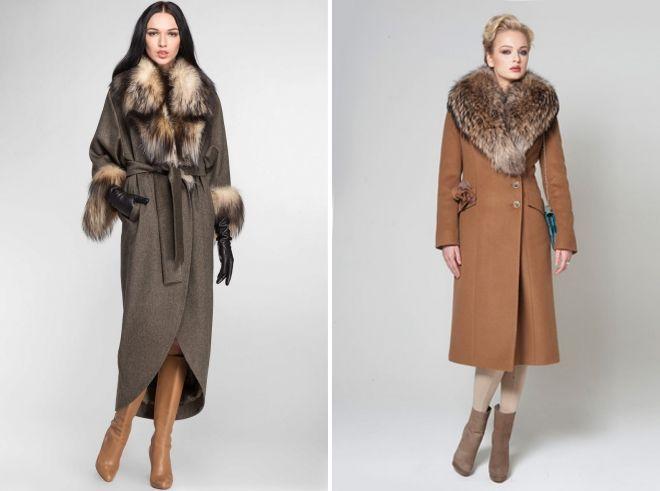 модели пальто с мехом