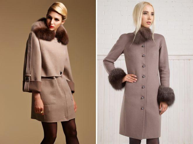 модели зимних пальто с мехом