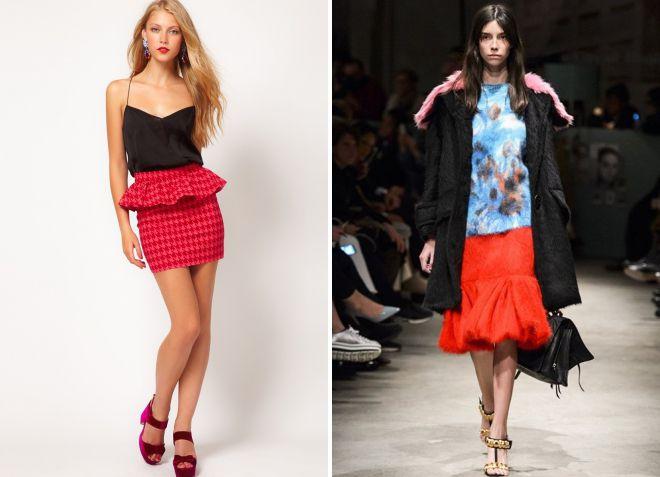 красная юбка с баской